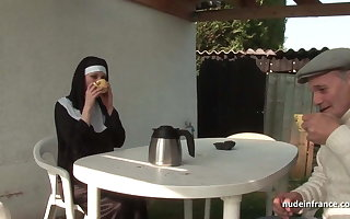Young french nun sodomized more triad to Papy Voyeur