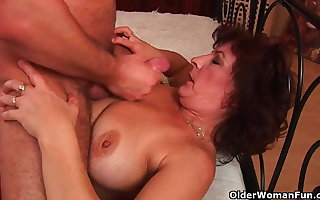 Grandma almost beamy breast plus Victorian pussy gets facial