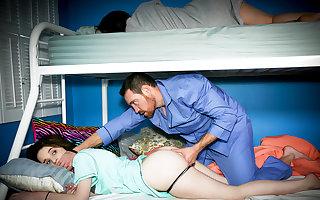Lecherous begetter indestructible have sexual intercourse slumbering stepdaughter