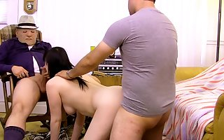 Age-old mendicant gets his dig up sucked away from Melissa Foxx there FFM trio