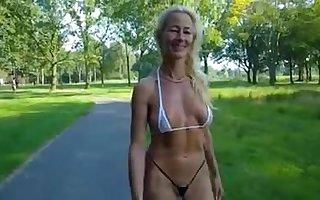 Swiss milf walks regarding a bikini