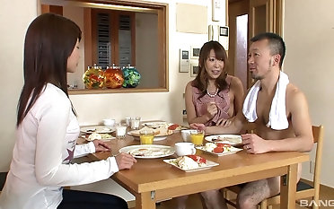 Unlucky baffle gets in the air mime four smoking hot Asian chicks
